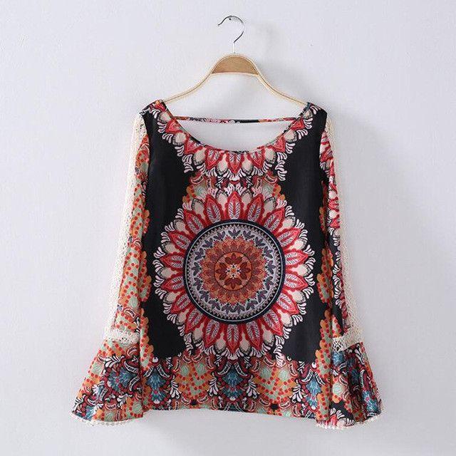 neue 2017 sexy v-ausschnitt laterne hulse top boho Blumendruck-damen Blusen Sommer Fruhling Boho Strand Shirt Blusas Feminina