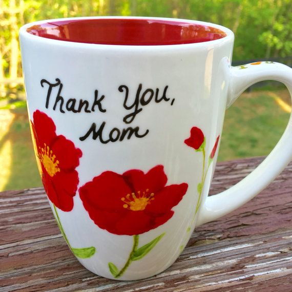 Beautiful Mother's Day hand painted flower mug - Dishwasher & Microwave safe.