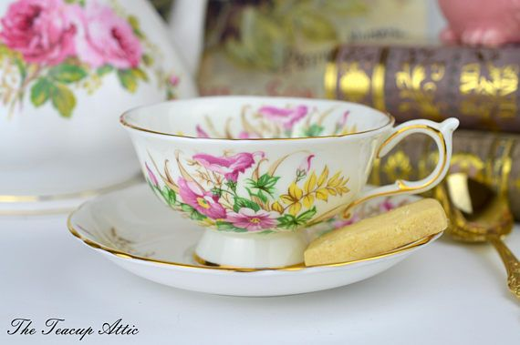 Paragon Footed Teacup And Saucer With Morning Glory Flowers Tea Cups Saucer Afternoon Tea