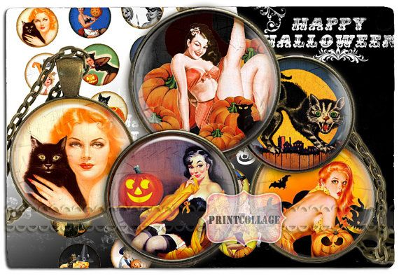 Digital Collage Sheet  Halloween Pin Up  Cabochon by PrintCollage