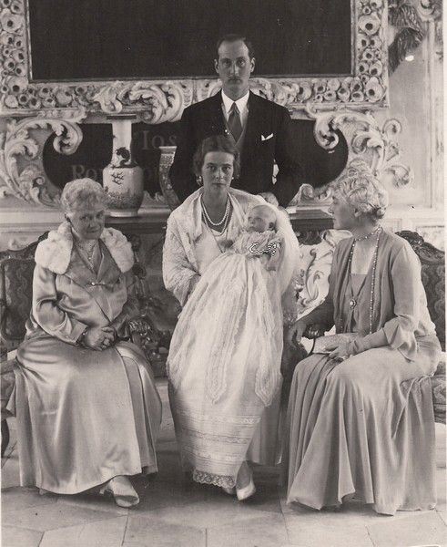The baptism of princess Margarethe of Baden, eldest daughter of  Berthold, Margrave of Baden and spouse, Princess Theodora of Greece (sister of Prince Philip, Duke of Edinburgh).  In the image can be seen the couple with their little daughter , Berthold s mother, Marie Louise, neé princess of Hanover (right) and Thyra, crownprincess of Hanover, neé princess of Denmark.