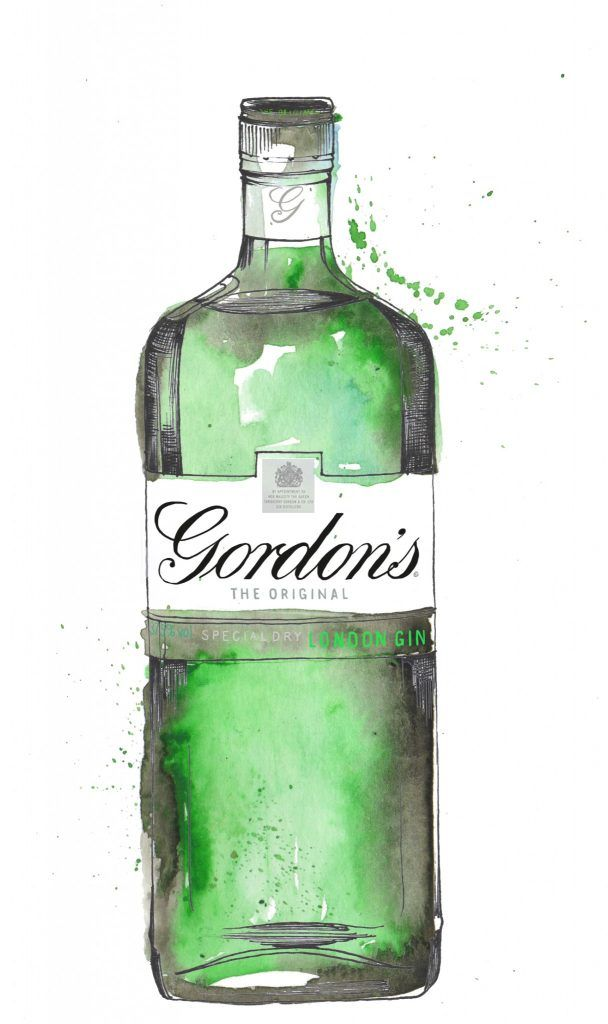 Gordons Gin Bottle Watercolour Illustration. Click the 'visit' link to commission your own choice of gin illustrations