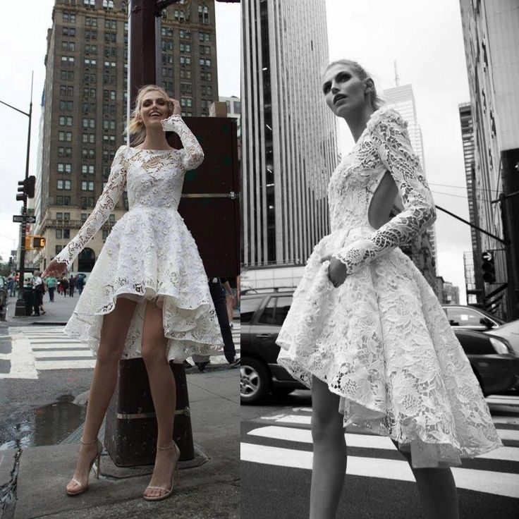 Popular High Low Inbal Dror Wedding Dresses Illusion Bateau Long Sleeve Backless Lace Wedding Gowns A Line