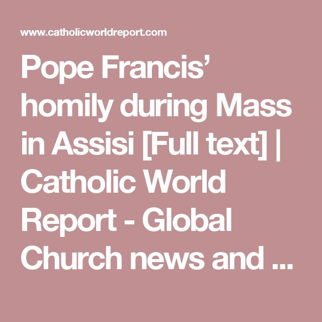 Pope Francis' homily during Mass in Assisi [Full text] | Catholic World Report - Global Church news and views
