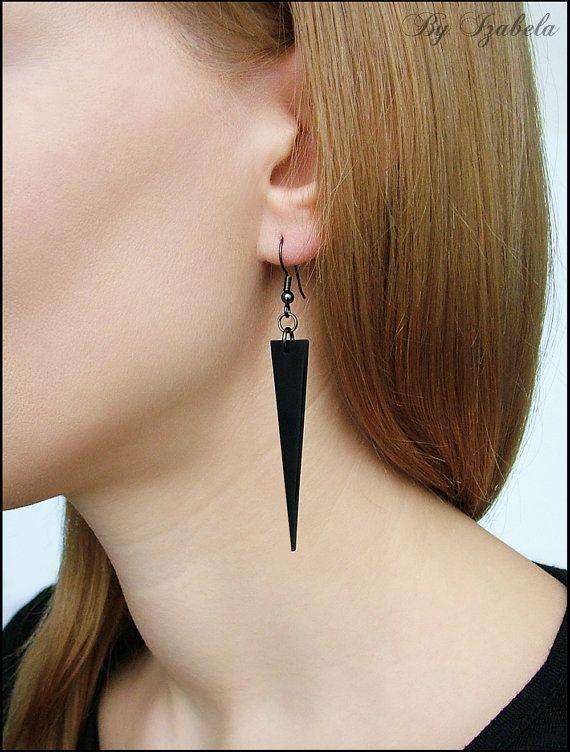 Long Black Dangle Earrings / Polymer clay earrings / by ByIzabela, €10.00