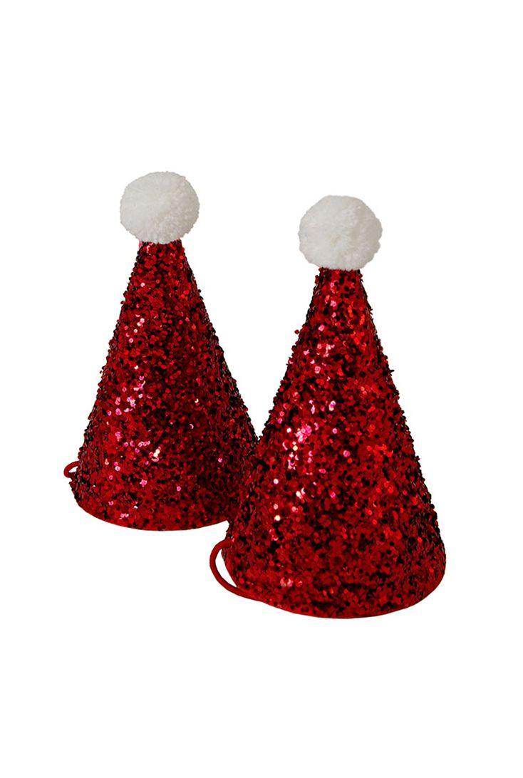 Skønne nissehuer med rødt glimmer - festlige som julens party hat. Brug nissehuerne til julemiddagen eller julefrokosten - eller måske som bordkort?