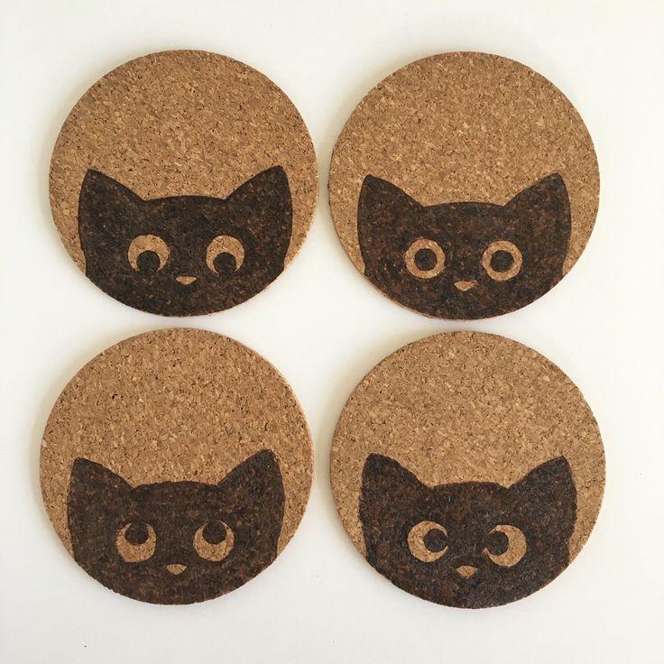 Peeking Cat Coasters by HuckleberryHaven on Etsy https://www.etsy.com/ca/listing/278578830/peeking-cat-coasters