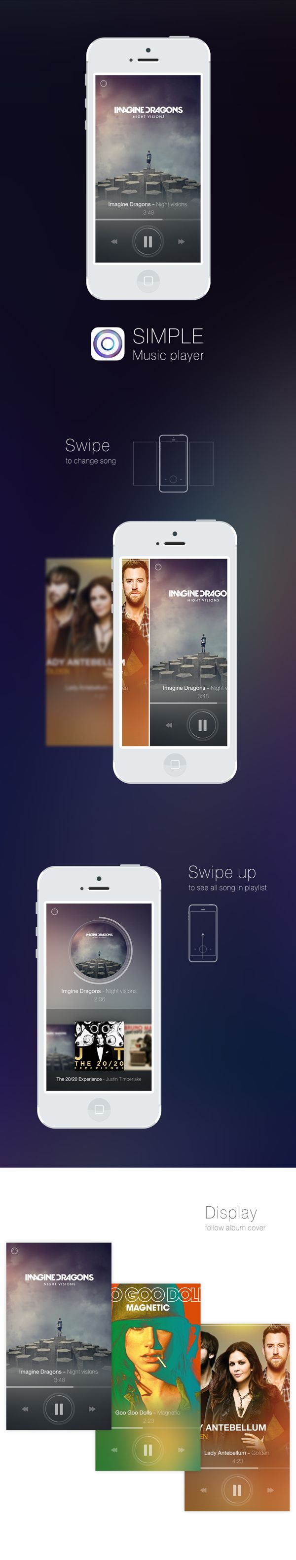 Simple music player by DSEEER Kate, via Behance
