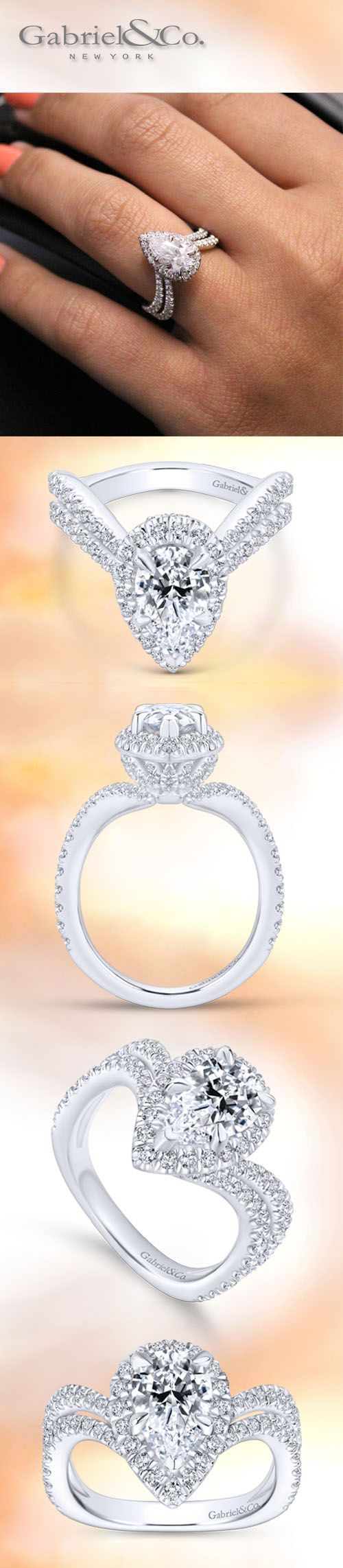 Gabriel & Co. - Voted #1 Most Preferred Bridal Brand. A modern design for a classic Marquise Diamond Halo 18k White Gold Engagement Ring.Style: ER13661P6W84JJ