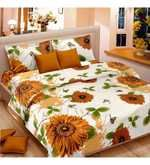 Buy Vorhang Sunflower Yellow Cotton Double Bed Sheet (with Pillow Covers)  Online: Shop from wide range of Bed