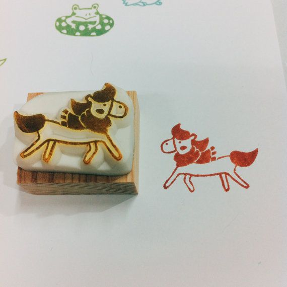 handsome horse rubber stamp by DeerdayShop