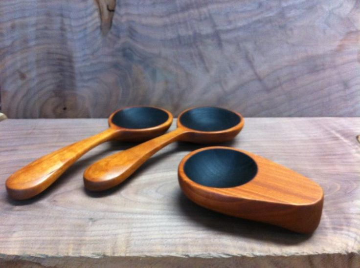 Cherry salad spoons and coffee scoop - Woodworking creation by Thomas