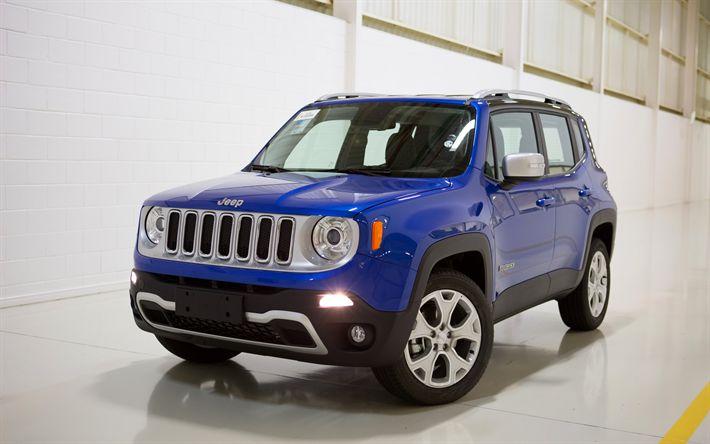Télécharger fonds d'écran Jeep Renegade, 4k, 2018 voitures, Vus, bleu Renegade, Jeep