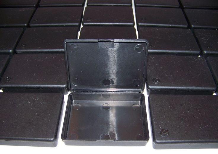 "Protektive Pak - 40 Black Plastic Hinged Storage Boxes - 2.5"" x 3.5"" Geocaching #ProtektivePak"