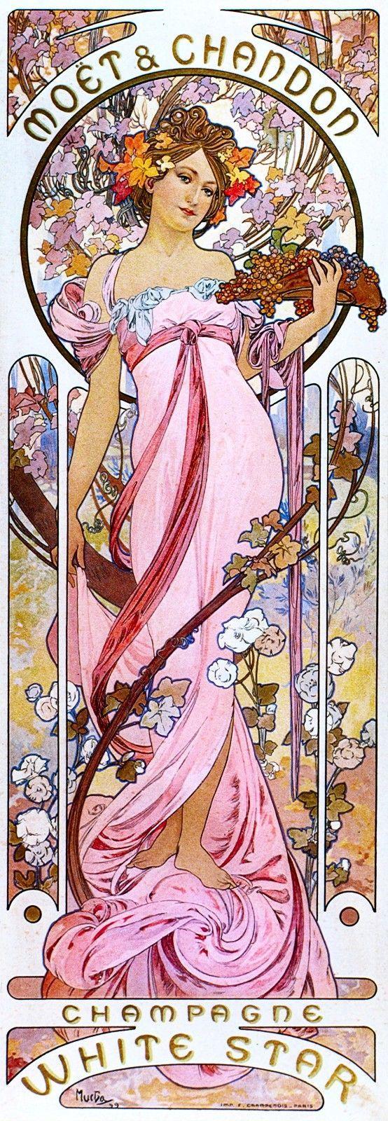 Art Nouveau Mucha Moët & Chandon Champagne White Star