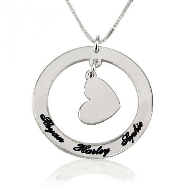Collar Círculo con Nombres y Corazón colgante en Plata de Ley - Joyas4You - Joyería personalizada - Joyas personalizadas