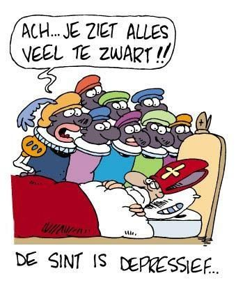 Cartoon Sinterklaas is depressief. Sint Nicolaas ziet alles veel te zwart door zijn zwarte pieten.