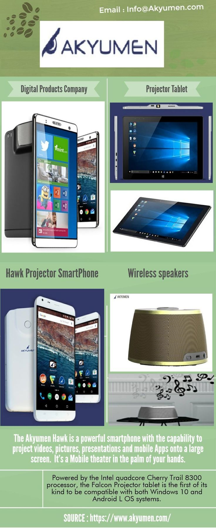 Digital Products Company foreseeing the need to go mobile have created mobile technology products that increase your professional abilities as well as allow for great entertainment.  A digital products company has created a Projector Tablet that may very well change the way students work in the classroom. https://www.akyumen.com/