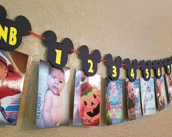 Mickey Mouse Birthday Month Banner | Mickey Mouse 1st Birthday Party Decorations | Mickey Mouse Garland | Mickey Mouse Clubhouse Banner