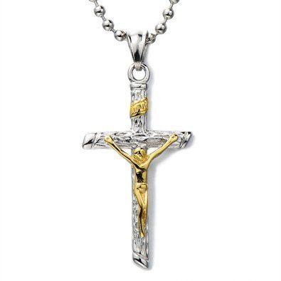 Unisex Jésus Christ Croix Crucifix Pendentif Collier Homme Femmes – Acier Inoxydable – Deux tons or et d'argent – avec 60CM Chaîne de Boule