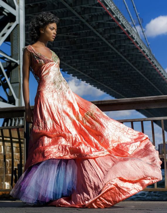 coral silk wedding dress with vintage lace and crinoline by momosoho