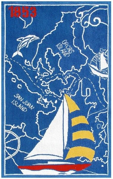 Rug Market Kids Nautical 11794 1853 Blue/Red/Yellow Area Rug   The Rug