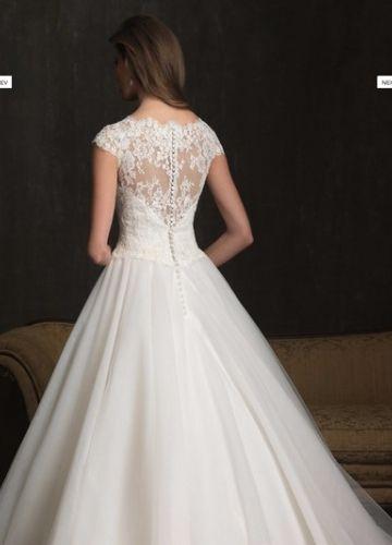 2013 New Style Tulle Ballgown Scoop Neckline Chapel Train Lace Appliques Wedding Dress