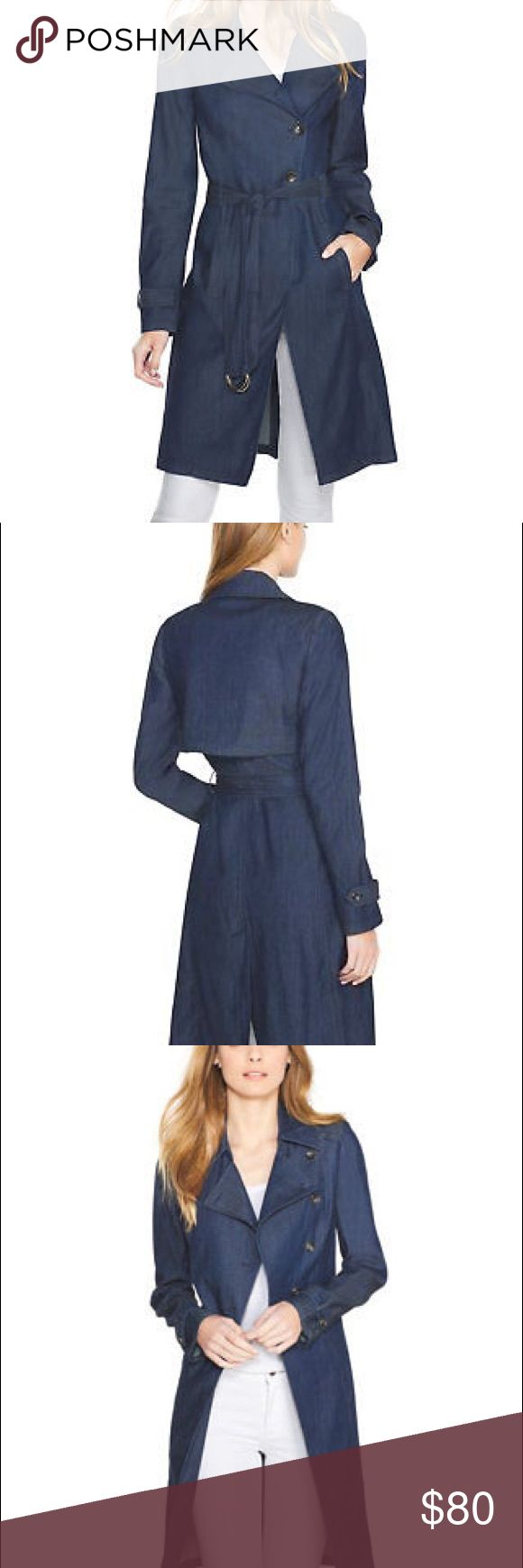 WHBM Blue Denim Tencel Trench Belted Coat New Rare WHBM DOUBLE BREATED MODERN TWIST DENIM TRENCH COAT NEW  Size XL (14-16)  SOLD OUT POPULAR DENIM TRENCH COAT FROM WHBM  BRAND NEW WITH TAGS!  GREAT SAVINGS OFF RETAIL PRICE!  PERFECT STYLE!  Double-breasted trench for women who crave tradition with a twist. We used the darkest-wash denim we could find and infused it with stretch for softness that is out of this world. White skinny jeans, offset this trench brilliantly.  Unlined…