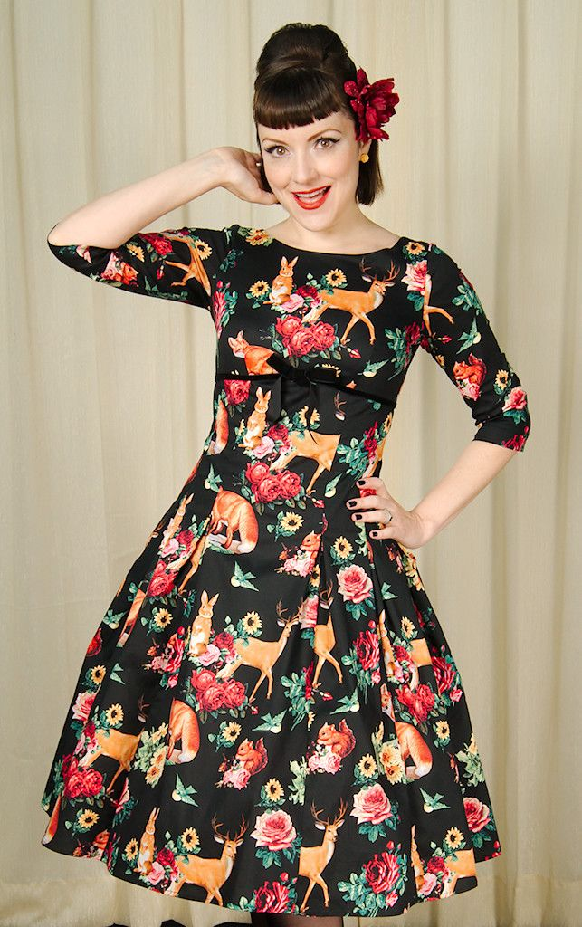 Hell Bunny Hermeline Woodland 50s Dress for sale at Cats Like Us - 3