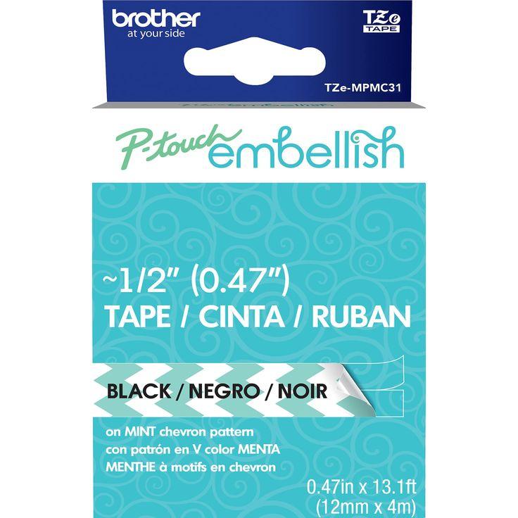 P-Touch Embellish Black Print Pattern Tape -Mint Chevron - mint chevron