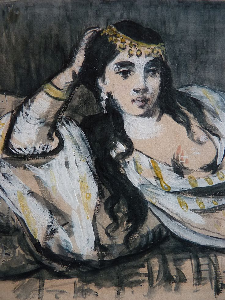 MANET Edouard - Odalisque (drawing, dessin, disegno-Louvre RF6929) - Detail 10