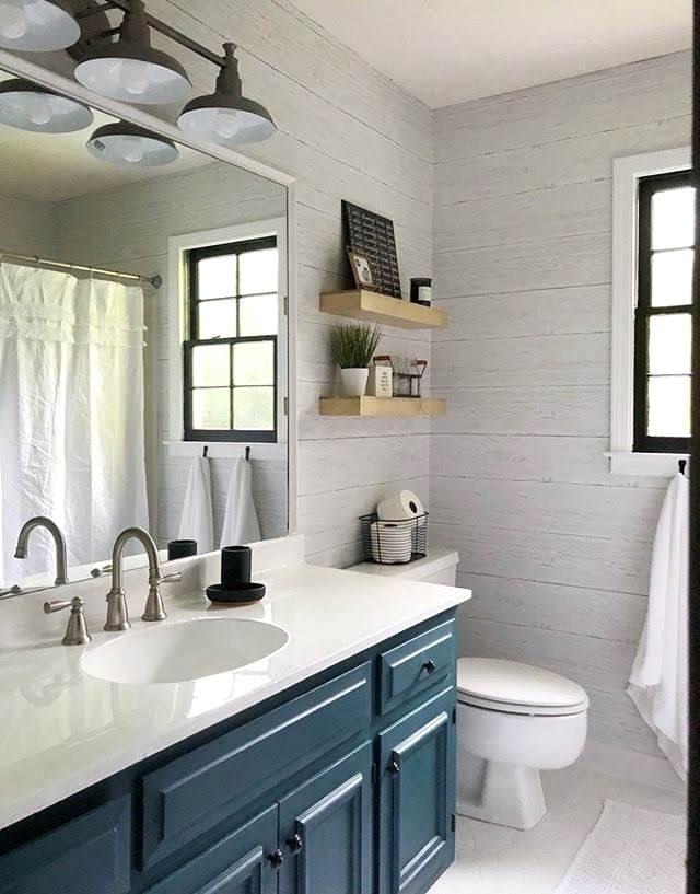 Wallpops Shiplap Reclaimed Wood Peel And Stick Wallpaper Bathroom Design Small Small Bathroom Small Master Bathroom