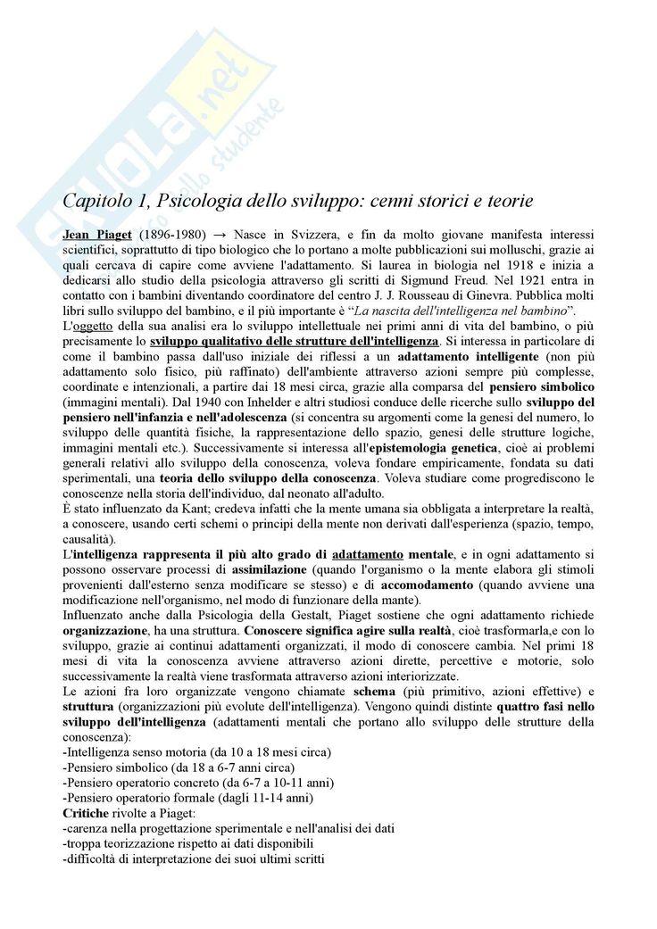 Riassunto esame Psicologia dello Sviluppo, prof. Vianello, libro consigliato Psicologia dello Sviluppo - Pagina 1