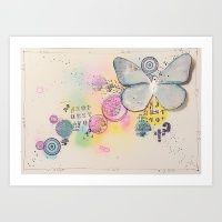 Butterfly In The Bubbles Art Print