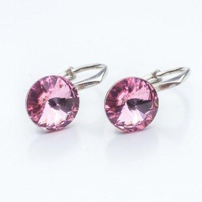Swarovski Rivoli Earrings 8mm Light Rose  Dimensions: length: 1,7cm stone size: 8mm Weight ~ 1,85g ( 1 pair ) Metal : sterling silver ( AG-925) Stones: Swarovski Elements 1122 SS39 Colour: Light Rose 1 package = 1 pair