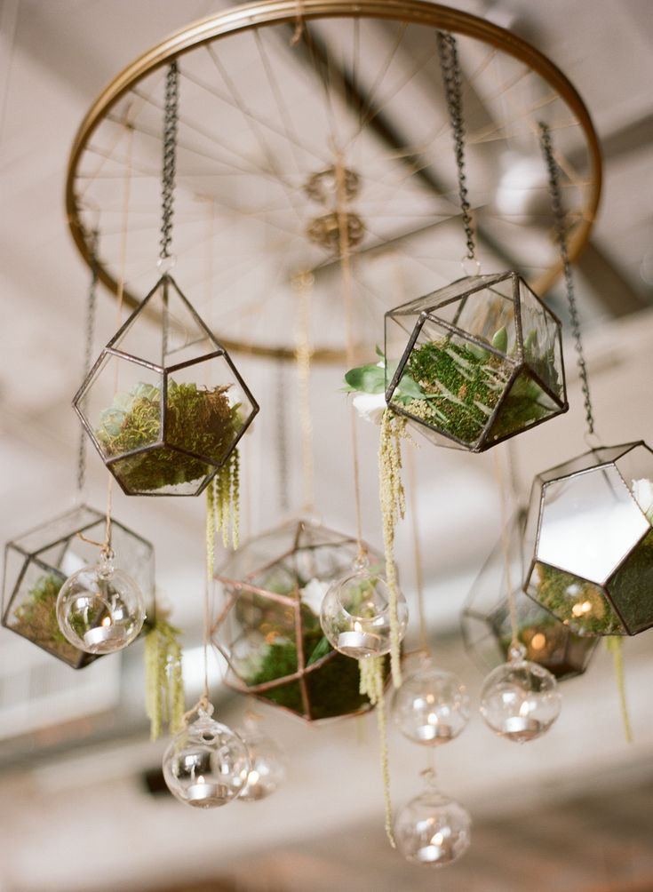 Love, love, love that this couple used terrariums as decor for their wedding | Photo by Kate Headley