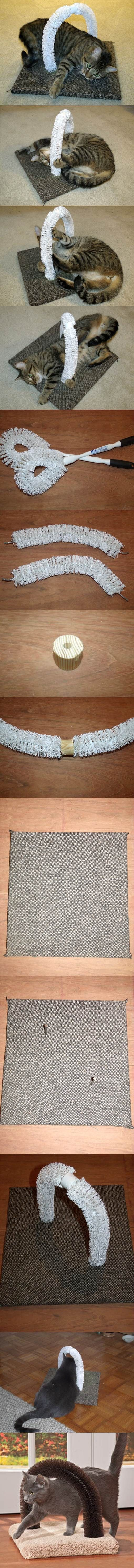 DIY Self-Petting Station for Cats. I need to make one of these for Mittens!