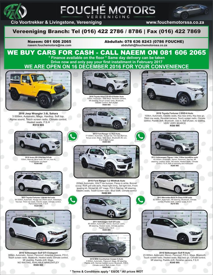 We buy cars for cash Fouche Motors Vereeniging !! We