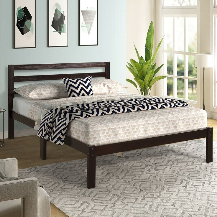 Platform Bed Full Size Bed Frame Wood Slat Support Bed