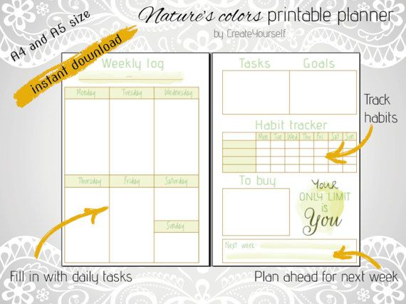 Check out this item in my Etsy shop https://www.etsy.com/listing/495798412/natures-colors-printable-weekly-planner