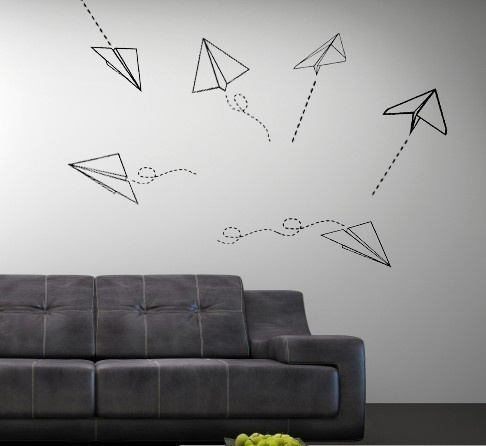 paper airplane decor on walls/windows with colored masking tape for wedding reception??
