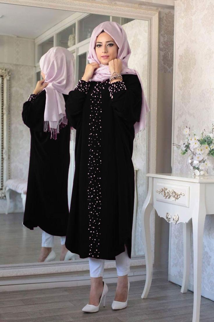 Renklerevi Tesettür Giyim ~ Lefzen İncili Siyah Ferace Tunik