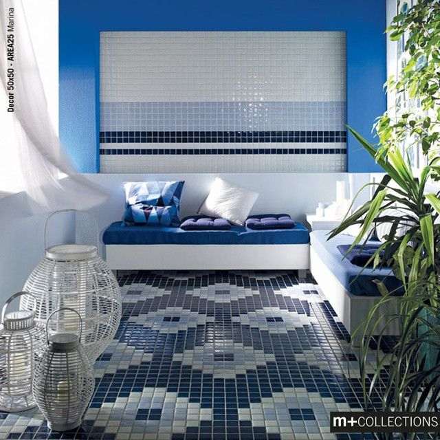 Mosaico+ Area25 Collection - Marina | GREEN PRODUCT: Area25 is a mosaic made from 95% recycled sintered glass.  #summer #greece #greekmood #mosaicopiu #mosaic #decor #area25 #design #floor #sinteredglass #blue #greenproduct #ecofriendly #cleantech #madeinitaly