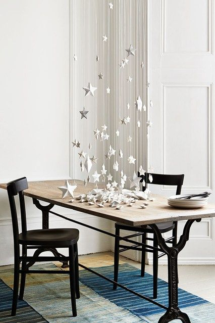 Made of papier mâché, the stars have to be dipped in paint and hung up to dry. Once dry, string them on to long lengths of clear wire and hang them at different lengths, building up more density lower down. Then scatter the same number of stars on the table.
