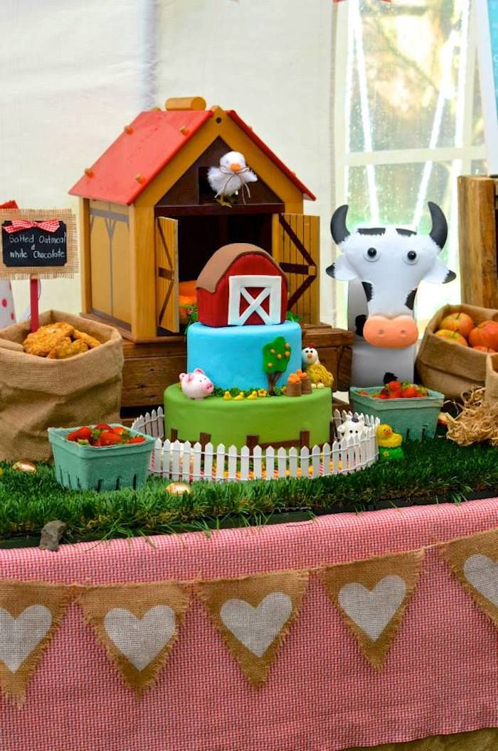 Farm + Barnyard themed party via Kara' s Party Ideas KarasPartyIdeas.com Recipes, cakes, printables, games, favors, and MORE! #farm..