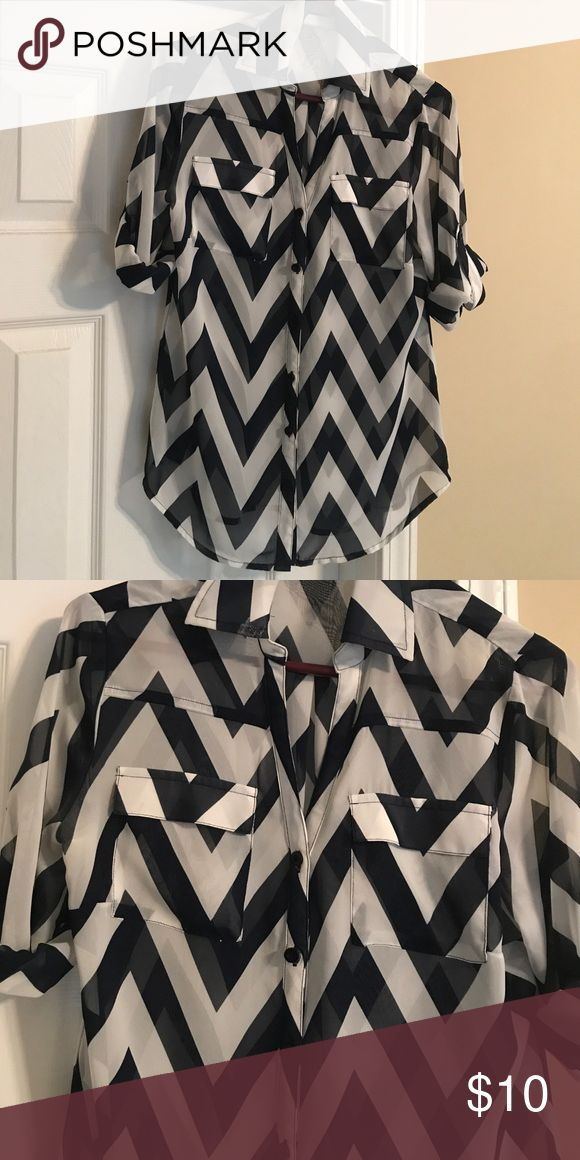 Navy & White Chevron Shirt Navy & White Chevron print button down work. Sheer material. Sleeves can be worn full length or rolled up. Only worn once. No stains, rips or tears. New York & Company Tops Button Down Shirts
