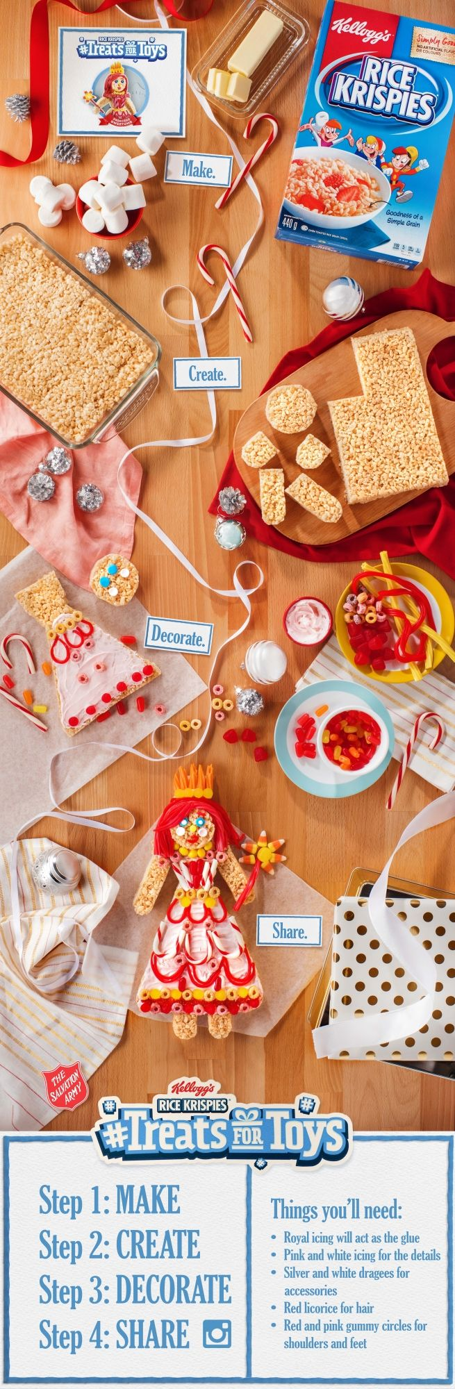 Make your Rice Krispies look like royalty! In just a few steps, you can start a new baking tradition. Share your creations using #TreatsforToys to help donate toys to less fortunate children.