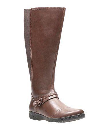 Look at this #zulilyfind! Dark Brown Cheyn Whisk Wide-Calf Leather Boot #zulilyfinds