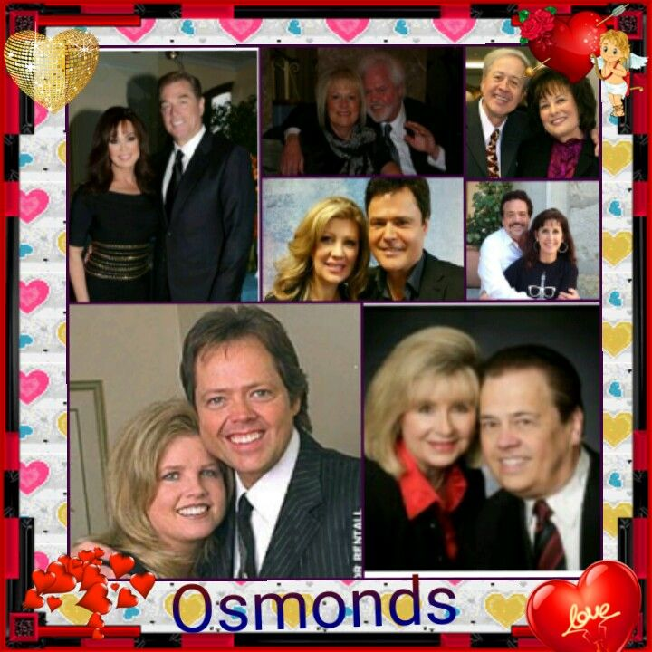 Marie and Steve Craig, Mary and Merrill Osmond, Donny and Debbie Osmond, Wayne & Kathy Osmond, Jay and Karen Osmond, Jimmy and Michelle Osmond and Alan and Suzanne Osmond.