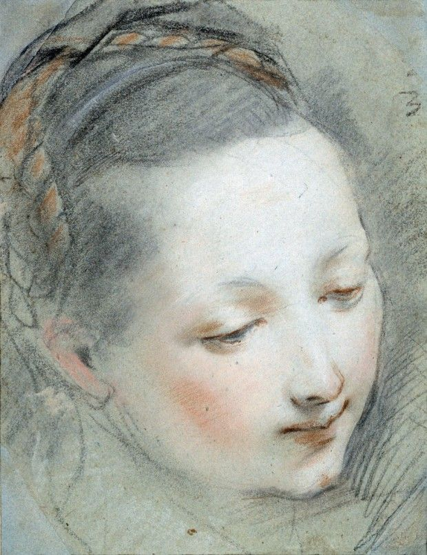 Federico Barocci, Italian, c.1533-1612; Study for the Head of the Virgin Mary for the Annunciation; chalk and pastel on blue paper